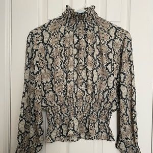 Shinestar Snake Print Crop Top with Puff Sleeve